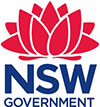 NSW Government logo. Red waratah over blue text reading NSW Government