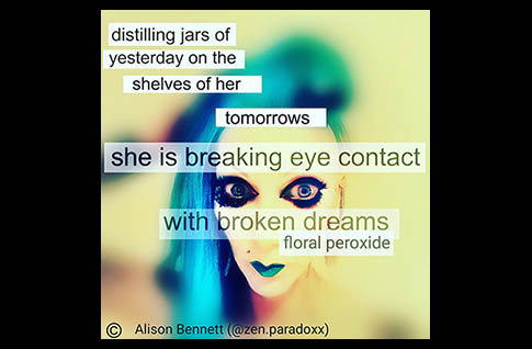 "A photograph of a woman's face on a yellow background. She has heavy, black, false eyelashes, bright blue lipstick and blue hair. A micro poem is written across the image - ""distilling jars of yesterday on the shelves of her tomorrows she is breaking eye contact with broken dreams floral peroxide"" Copyright Alison Bennett (@zen.paradoxx) is written in the bottom left hand corner."
