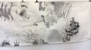 A large black and white drawing on paper