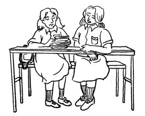 Drawing of two school girls sitting together at a desk
