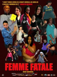 A poster with a black background and a colour-photo montage of women from all walks of life posing to show their strength.
