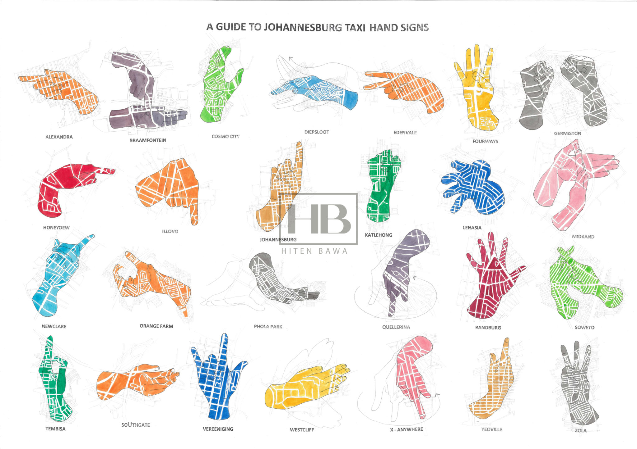 Artwork by Hiten Bawa. Hands of different colours, including blue, yellow, green and red, making signs for various taxi destinations in Johannesburg